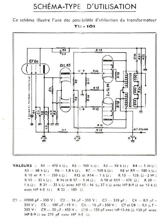 Scéma de base pour les TS AUDAX-TU101